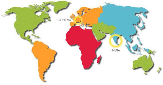 Carte du monde - Association Surya-Geneva - Entre l'Inde et la Suisse, un soleil en partage